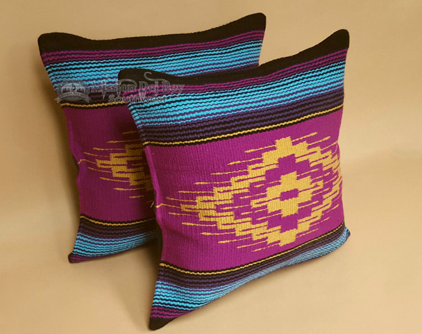 Pair Rustic Southwest Saltillo Style Pillow Covers