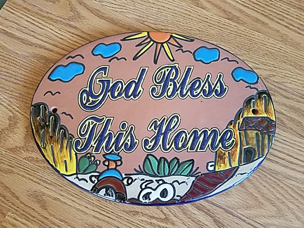 Hand Painted Mexican Pottery Talavera Sign - God Bless This Home