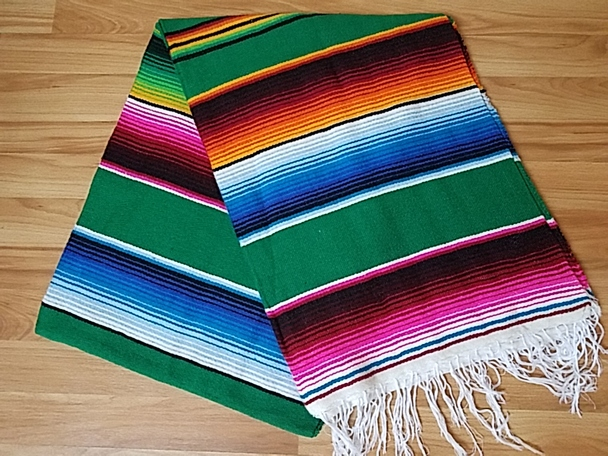 Southwest Mexican Serape Blanket 5'x7' -Green