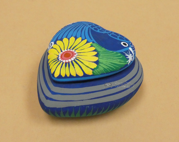 Hand Painted Clay Pottery Jewelry Box -Heart
