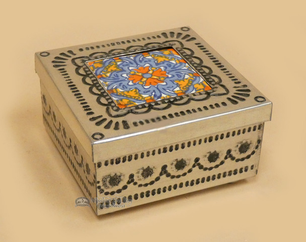 Tin and Talavera Jewelry Box