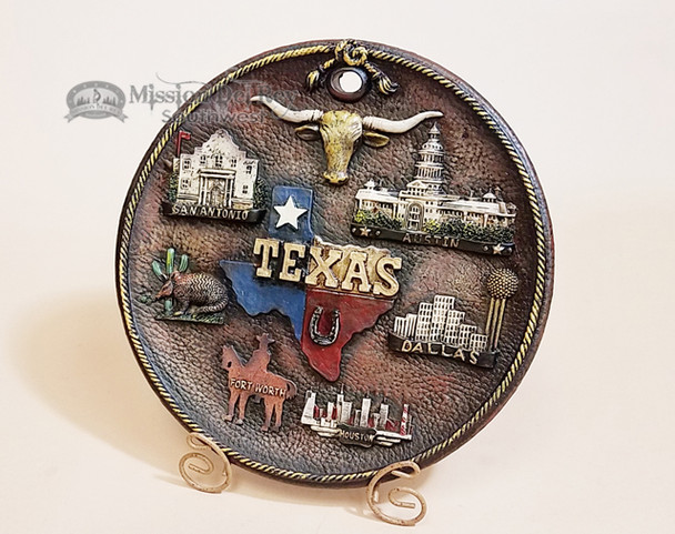 Rustic Western Style Plate With Stand - Texas