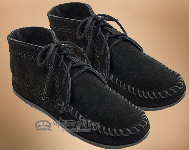 Women's Laced Ankle Boot Moccasins -Black