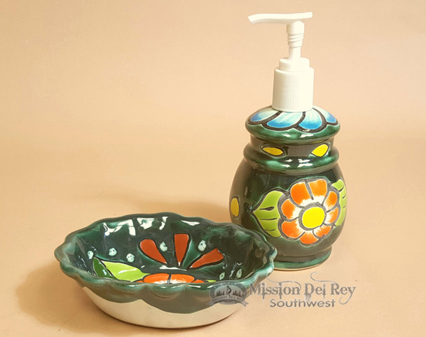 Hand Painted Mexican Ceramic Soap dish & Dispenser