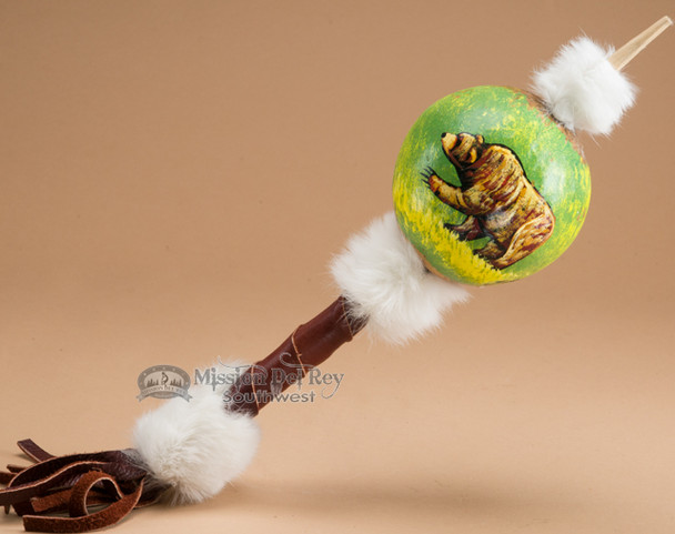 Painted Gourd Rattle - Bear