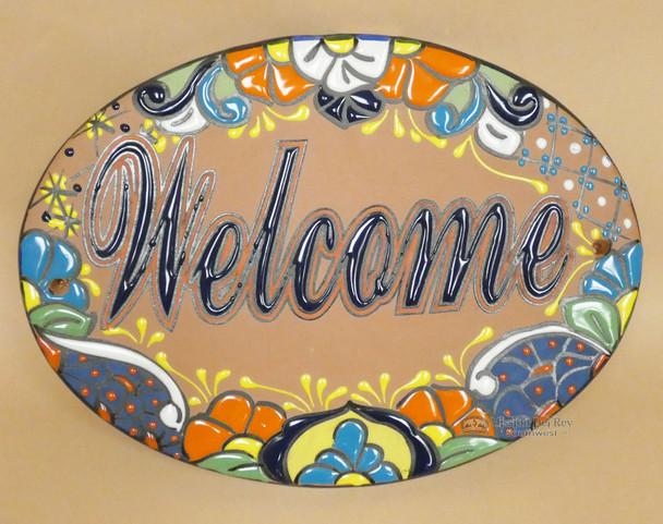 Genuine Hand Painted Talavera Ceramic Welcome Sign