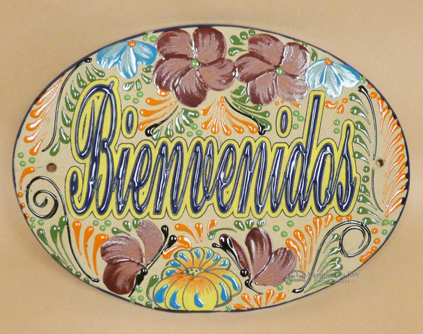 "Hand Painted Talavera Pottery Sign - Bienvenidos 13x9.5"" (2bc53)"