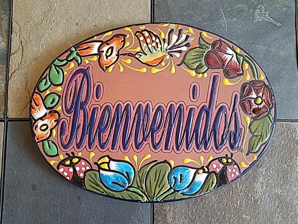 Hand Painted Mexican Pottery Talavera Sign - Bienvenidos