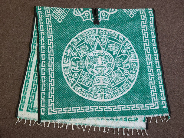 Mexican Style Blanket Poncho -Aztec Calendar