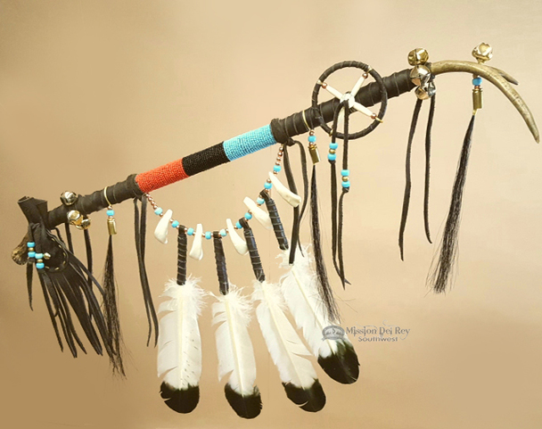 Native American Tigua Indian Draped Antler Dance Stick Medicine Staff