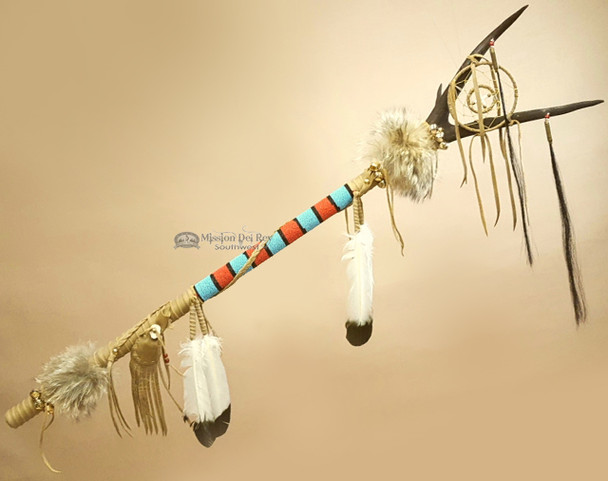 Native American Tigua Indian Elk Antler Dance Stick Medicine Staff