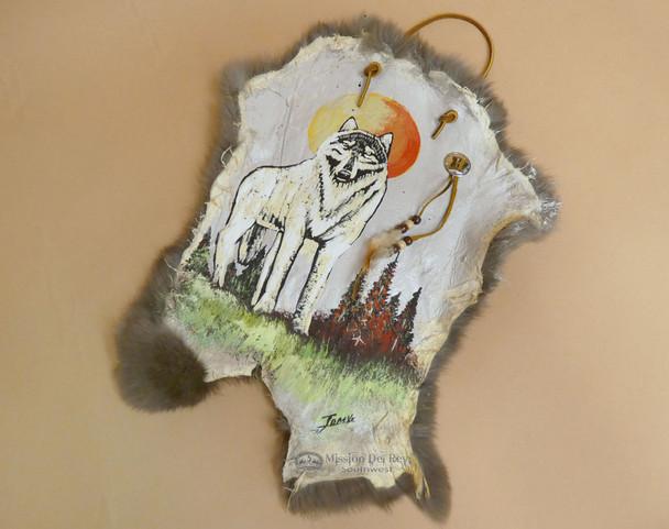Hand Painted Southwest Rabbit Hide -Wolf (ph111)