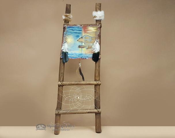 Hand Painted Hide Rack & Log Kiva Ladder -Spirit Bear