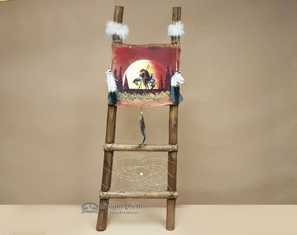 Hand Painted Hide Rack & Log Kiva Ladder -End Of The Trail