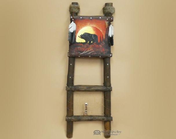 Hand Painted Hide Rack & Log Kiva Ladder -Moonlit Bear