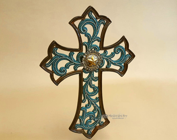Rustic Western Style Wall Cross -Turquoise Cutout