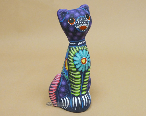 """Hand Painted Clay Pottery 7"""" -Alebrije Cat (2bc68)"""