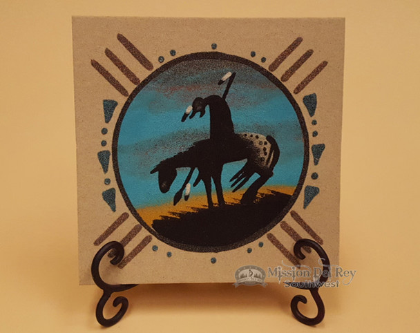 Native American Sand Painting & Stand -Navajo