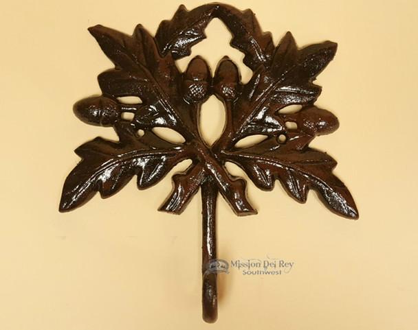 Wrought Iron Metal Art Wall Hook -Oak Leaf
