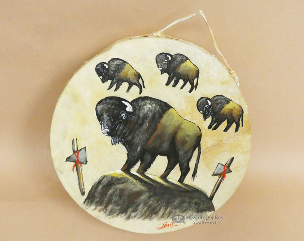 Painted Tarahumara Hand Drum -Buffalo