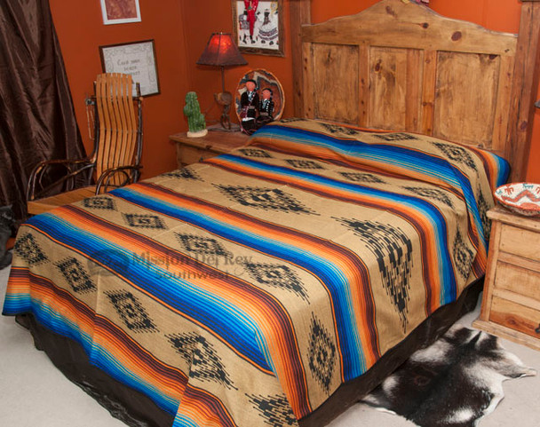 Southwestern Bedspread Saltillo Tan -Front (queen being displayed)