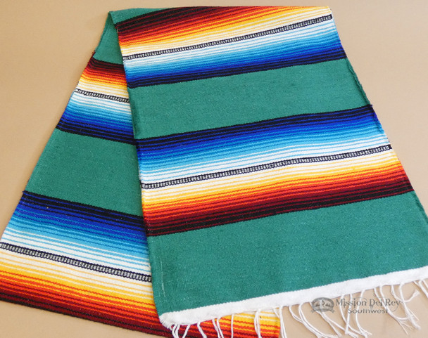 Southwestern Mexican Style Serape Table Runner -Teal