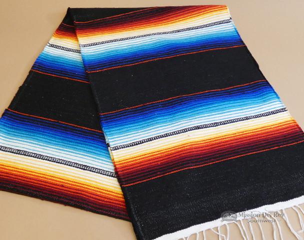 Southwestern Mexican Style Serape Table Runner -Black