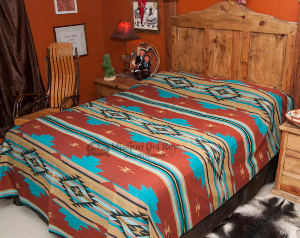Southwestern Chevron Bedspread Rust -Front  (queen shown for display)