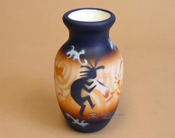 """Southwest Painted Pottery Vase 6"""" - Kokopelli"""