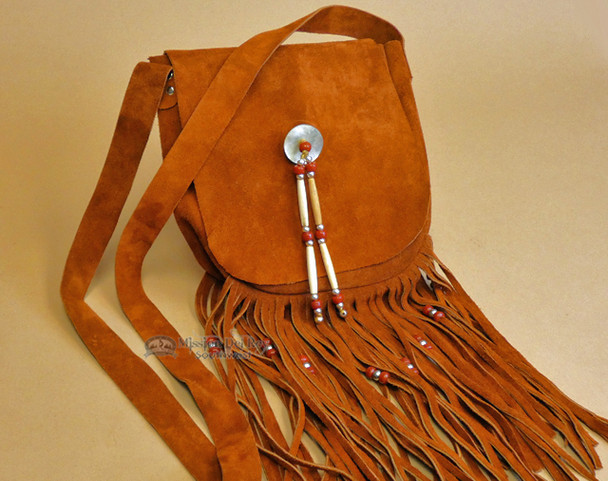 Genuine Native American Cowhide Medicine Bag with Hair Pipe Beading