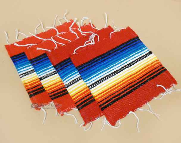 Southwestern Mexican Serape Coaster Set of 4 -Red