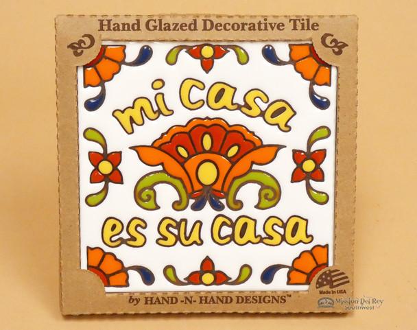 Southwest Mexican Tile - White, Mi Casa Es Su Casa