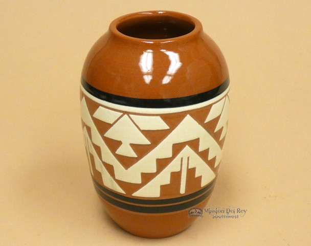 "Native American Glazed Clay Jar Vase 6.5"" -Lakota"