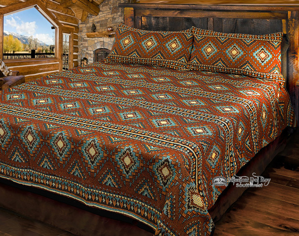 King Size Southwestern Woven Bedspread Coverlet -Becenti Style