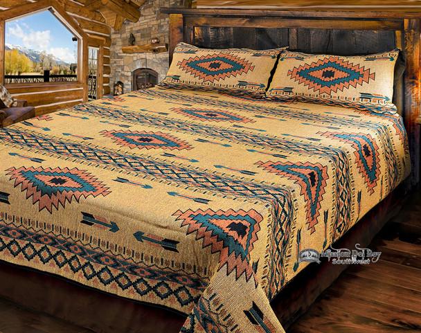 King Size Southwestern Woven Bedspread -Bitter Springs Style
