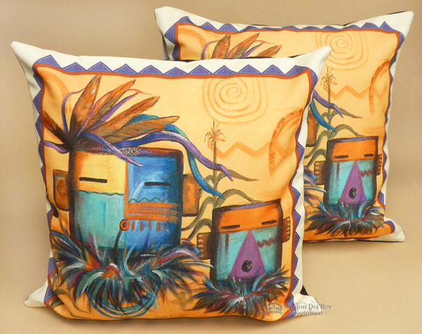 Pair of Rustic Southwestern Native Pillow Covers - Kachina