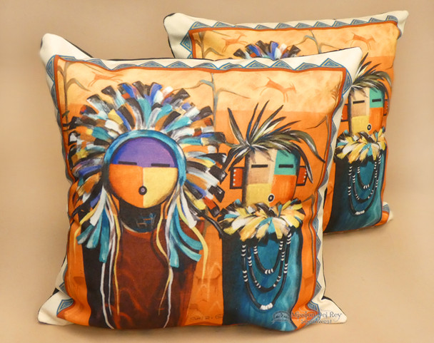 Pair of Native Southwestern Pillow Covers  - Sun Face