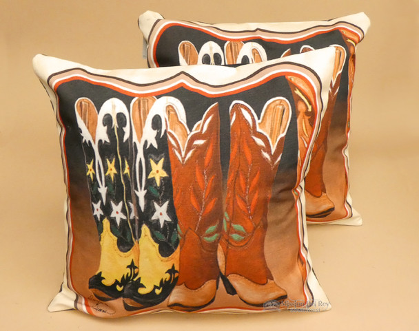 Pair of Rustic Southwestern Pillow Covers - Cowboy Boots