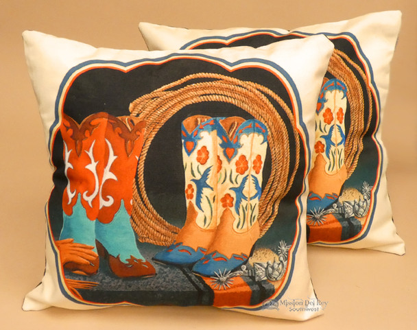Pair of Western Pillow Covers - Boots and Lasso