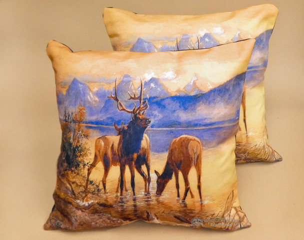 Pair of Rustic Digital Print Pillow Covers - Elk