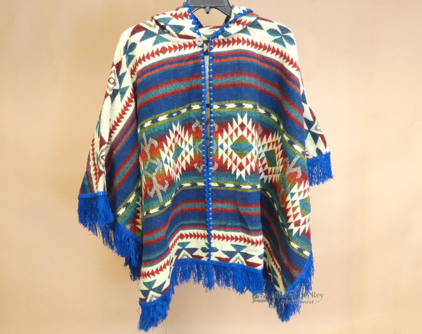 Southwestern Woven Wool Button Cape -Royal Blue