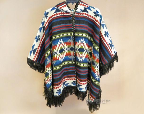 Southwestern Woven Wool Button Cape -Dark Brown