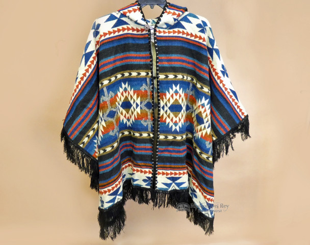 Southwestern Woven Cape -Black