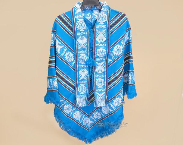 Southwest Woven Scarfed Poncho - Turquoise