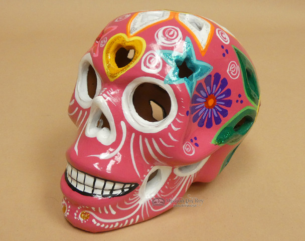 Ceramic Day of the Dead Lantern Skull