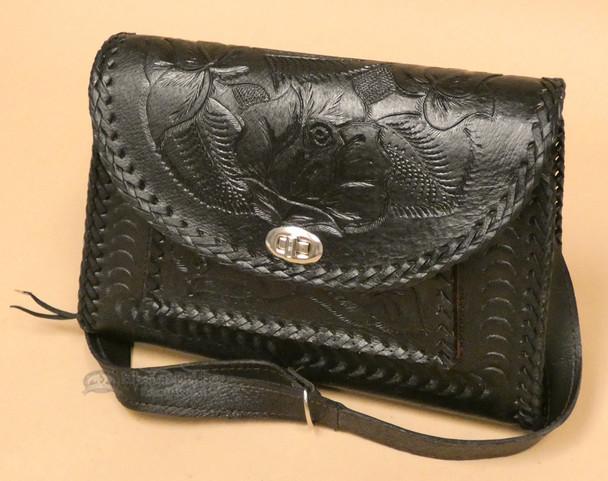 Southwestern Hand Tooled Leather Purse - Black