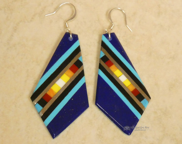 Pueblo Indian Inlay Earrings - Lapis