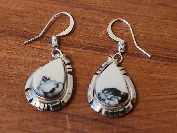 Navajo White Buffalo and Silver Earrings