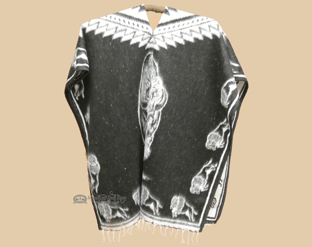 Mexican Style Buffalo Blanket Poncho - Black