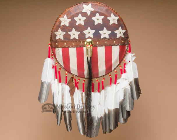 Tigua Indian Deer Skin American Flag Shield